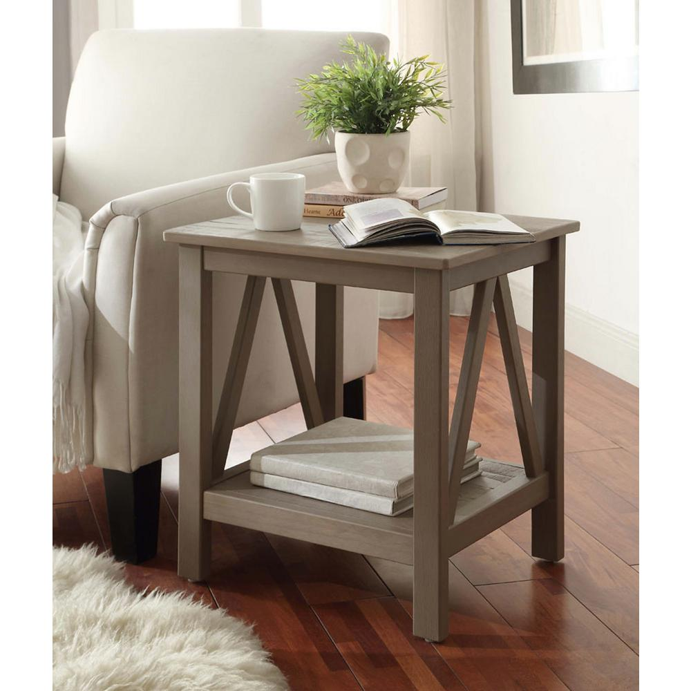 linon home decor titian rustic gray end table accent target fretwork matching coffee and lamp tables cymbal stand short furniture legs wood industrial pub west elm rabbit black