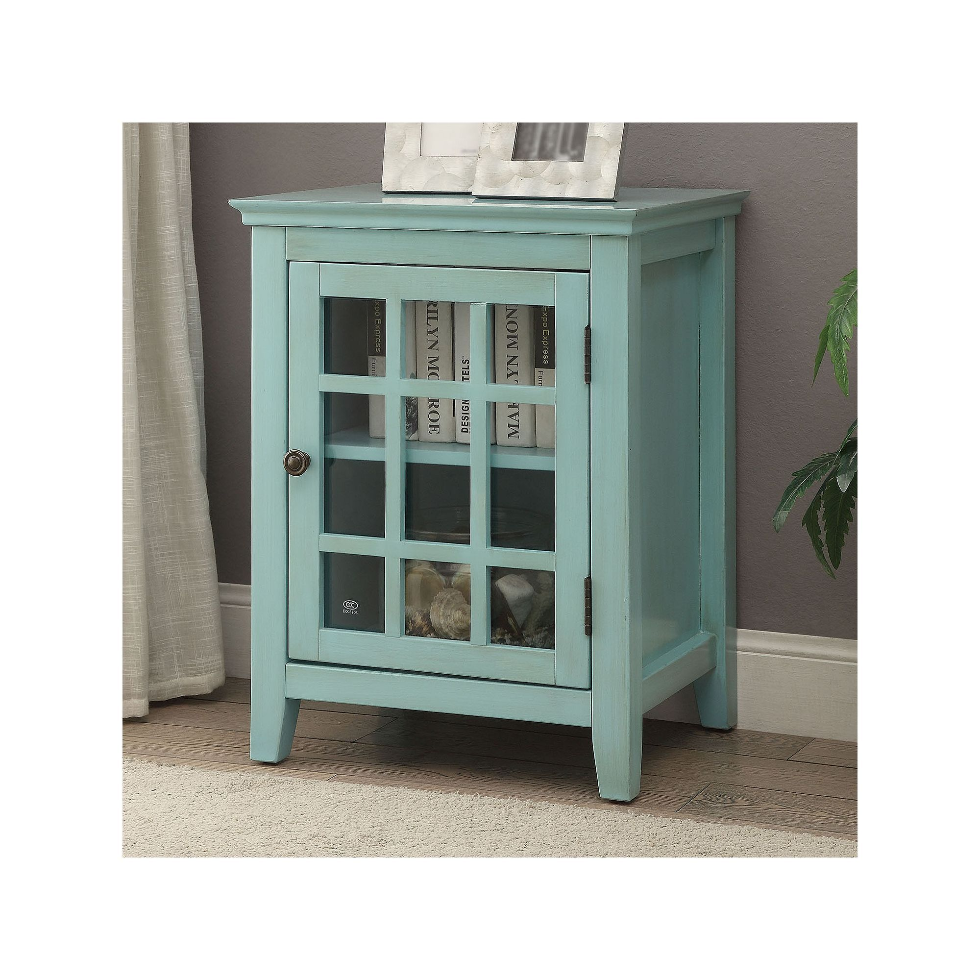 linon largo antique single door cabinet white doors and accent table with glass turquoise placemats napkins barn dining laminate paint off end tables counter height chairs target