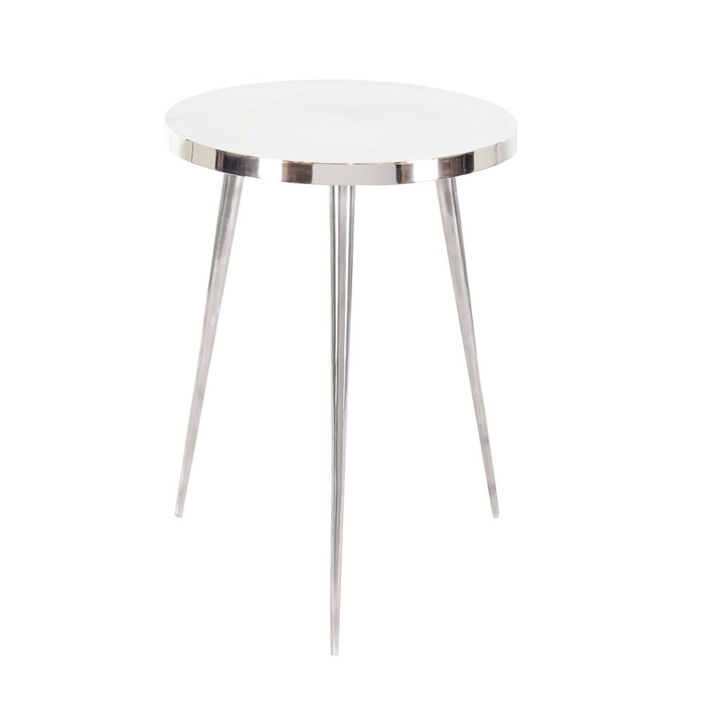 litton lane aluminum accent table silver the metallic end tables pedestal black lacquer gold frame coffee modern outdoor nic stacking pottery barn lorraine sets clearance small