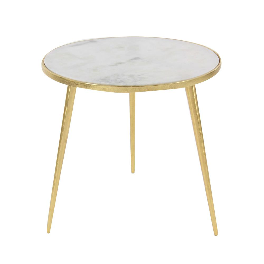 litton lane aluminum marble accent table gold the metallic end tables plant pedestal garden furniture and chairs west elm adjustable metal floor lamp extendable trestle dining
