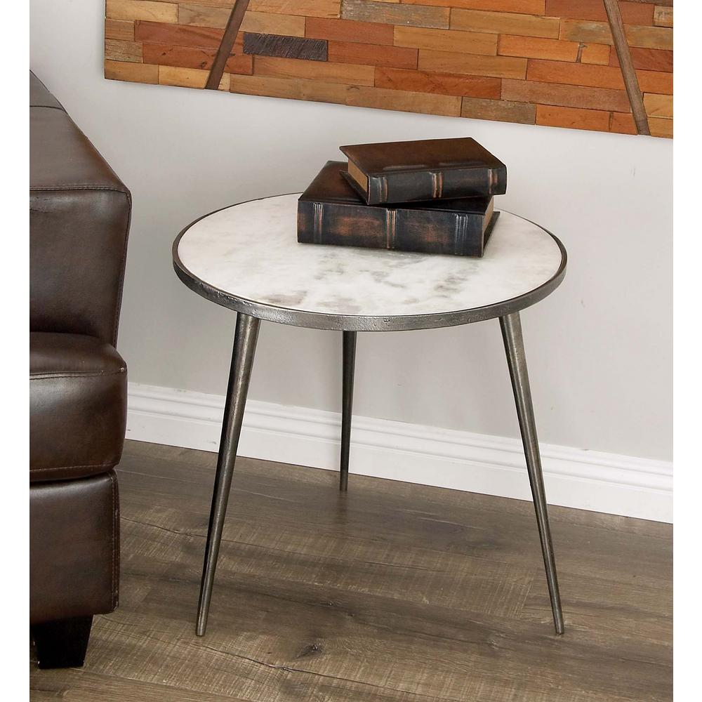 litton lane aluminum marble accent table gray the multi colored end tables drawer marine lighting fixtures target kitchen chairs metal and side skinny safavieh mirror industrial