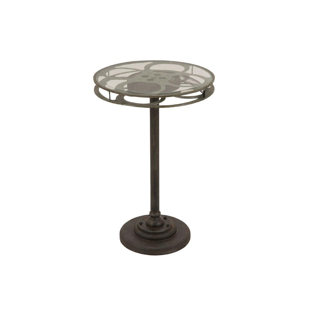 litton lane black movie reel accent table with clear glass top end tables marble dining set hairpin leg side target plastic patio sofa danish mid century modern metal furniture