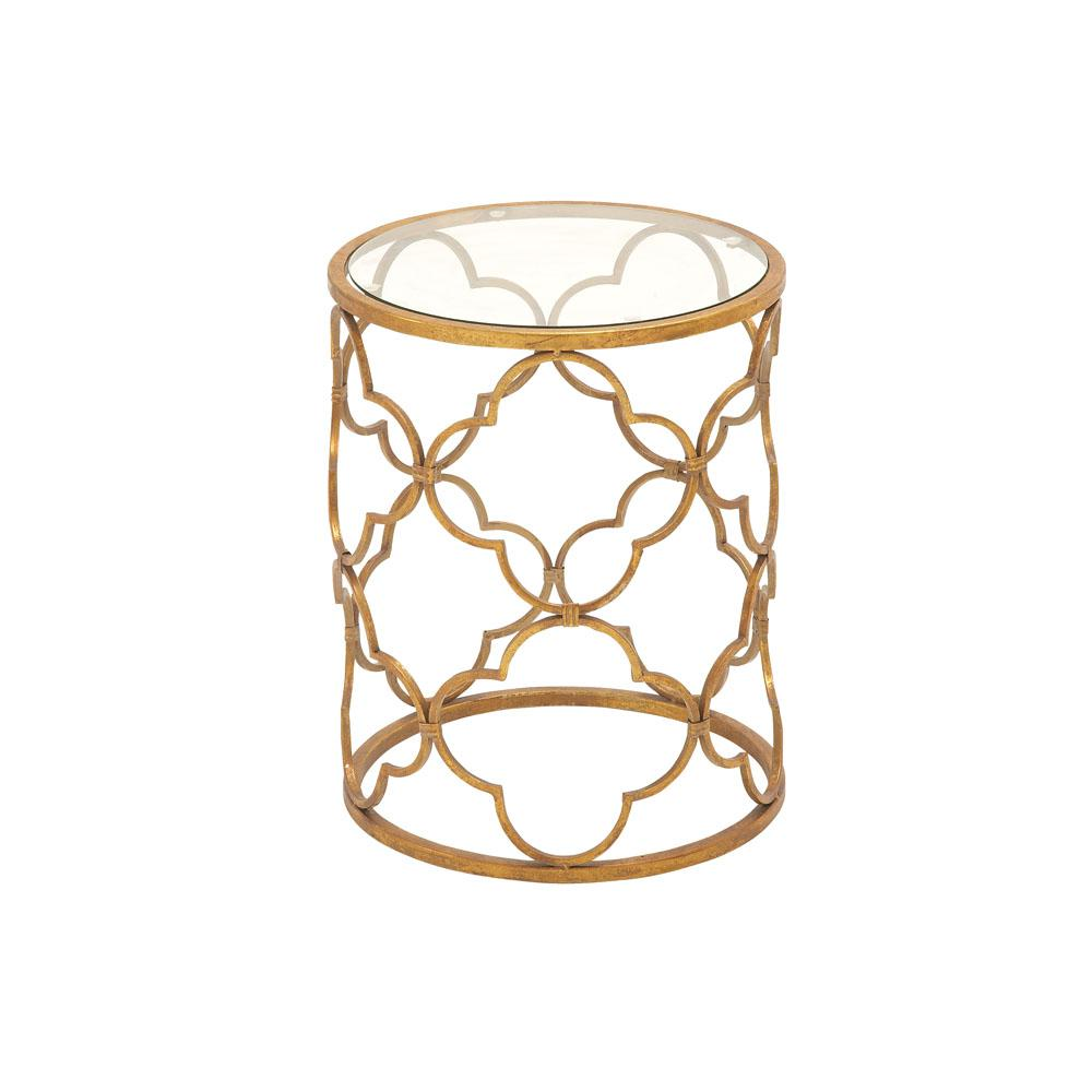 litton lane brass gold round accent table with quatrefoil trellis end tables drum design frame the barn door dimensions folding garden and chairs outside patio inch console plain