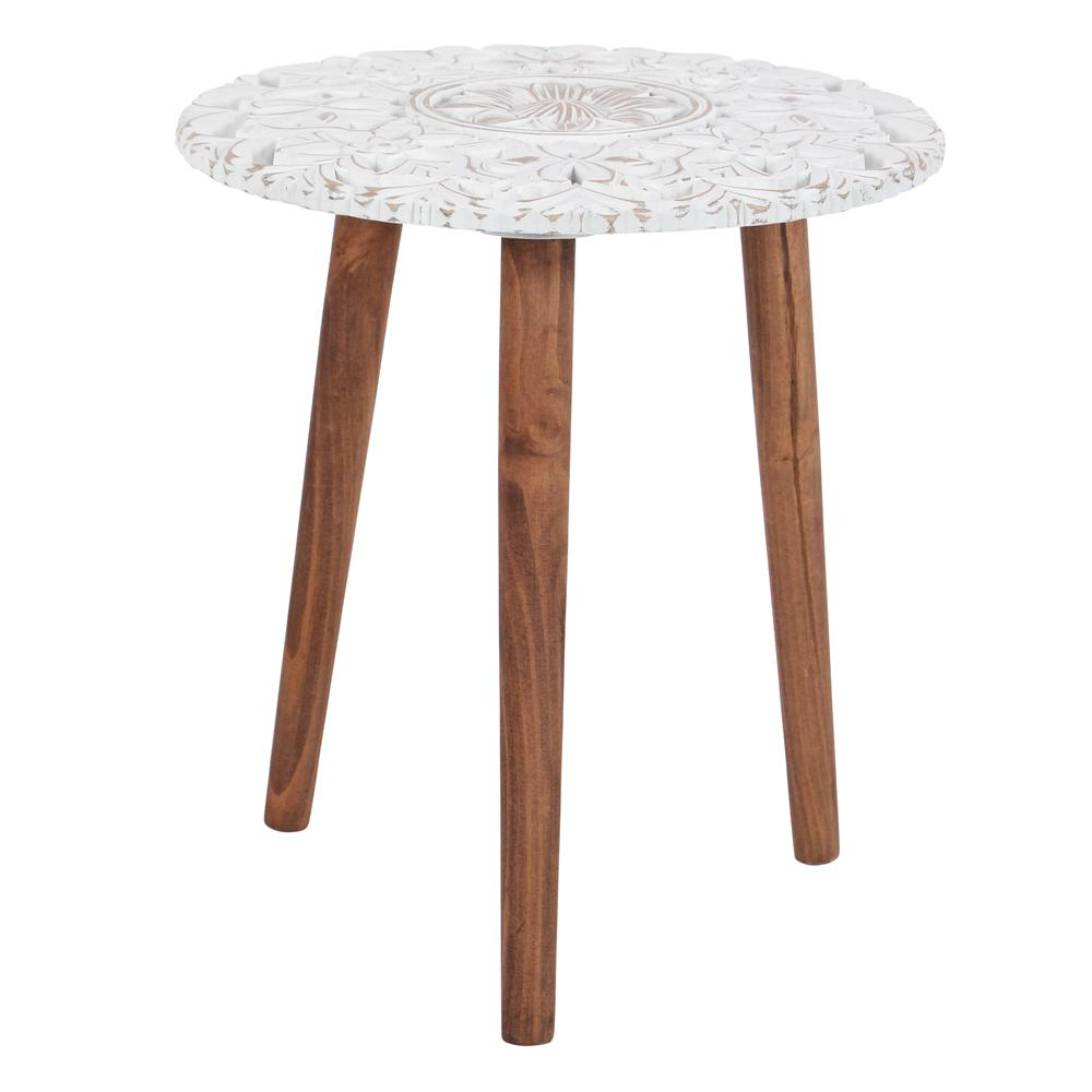 litton lane brown and white carved wood accent table the end tables butcher block kitchen target threshold round small garden italian marble coffee glass for bedroom aluminium