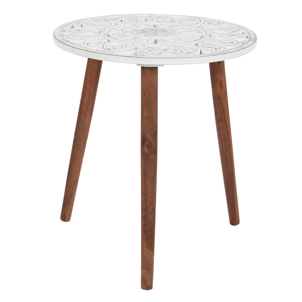 litton lane brown and white carved wood round accent table end tables rustic the oak bedside concrete side farmhouse plans west elm emmerson battery operated decorative lamps