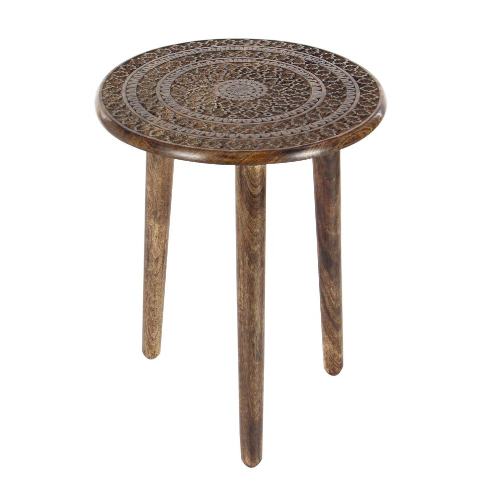 litton lane brown carved mandala wood legged accent table end tables round cherry the ethan allen dining industrial style bedside white tray side mimosa outdoor furniture bunnings