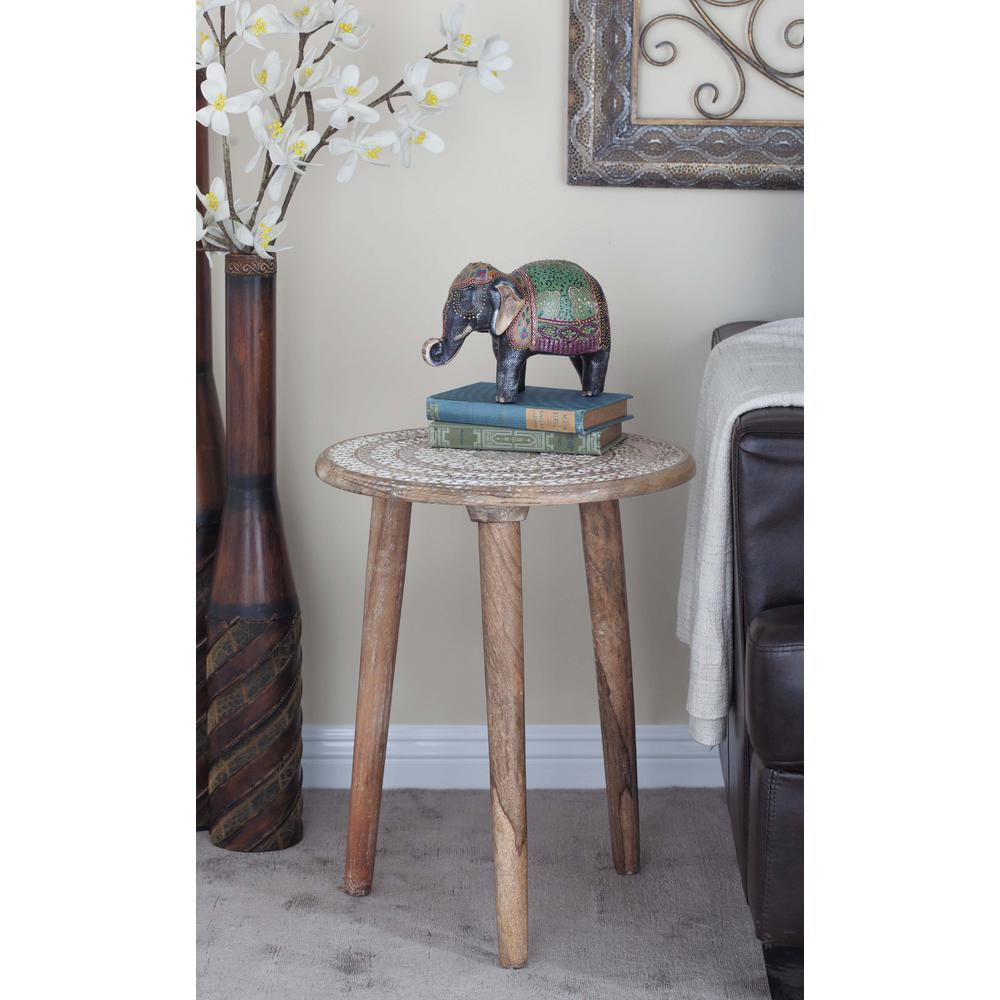 litton lane brown crosscut tree accent table the end tables elephant light carved wood legged drum side vintage ese lamps red round gray area rug pier imports cordless battery