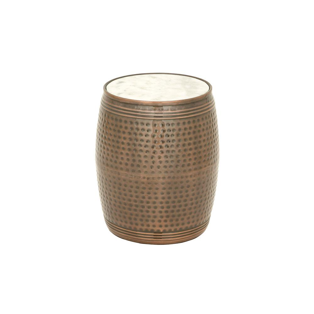 litton lane brown dimpled drum side table with white marble top end tables cylinder accent the outdoor cooler stand build your own one leg wicker storage baskets target file