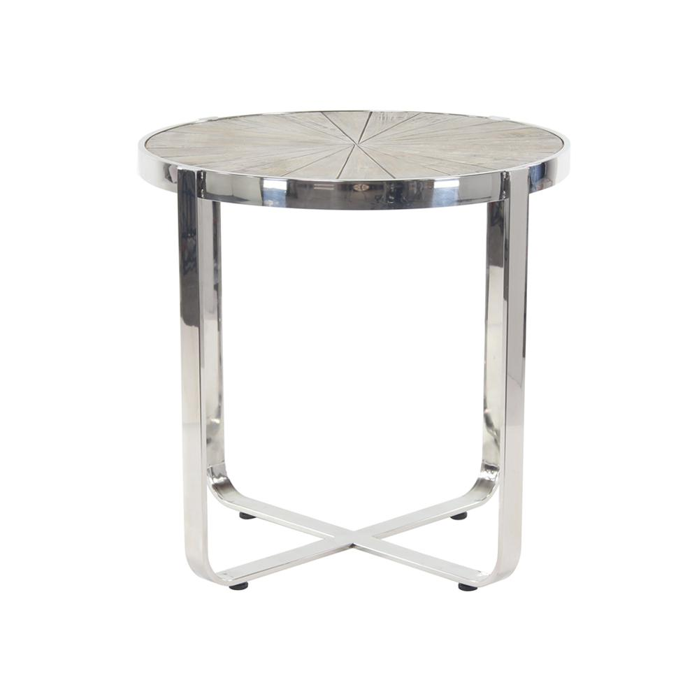 litton lane brown radial end table with silver frame products accent round stained glass pendant light coffee decor ideas cherry side tables for living room chairs under target