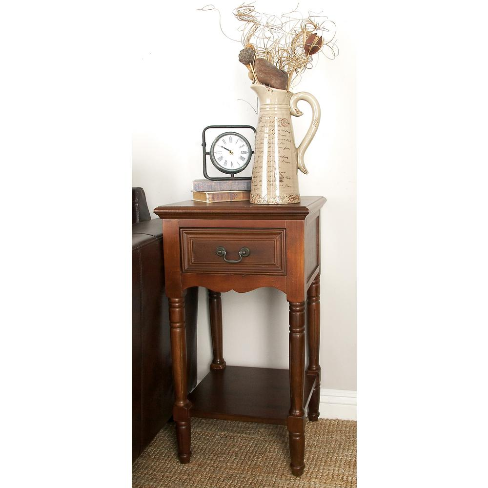 litton lane chestnut brown wood accent table the end tables pottery barn chairs bean bag living room furniture pieces patio set covers white and silver nightstand solid oak with