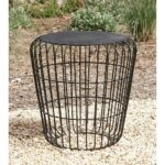 litton lane classic tin accent table metallic gray end tables black the small light tall narrow lamp room essentials desk maritime floor teal and chairs modern white target round 150x150