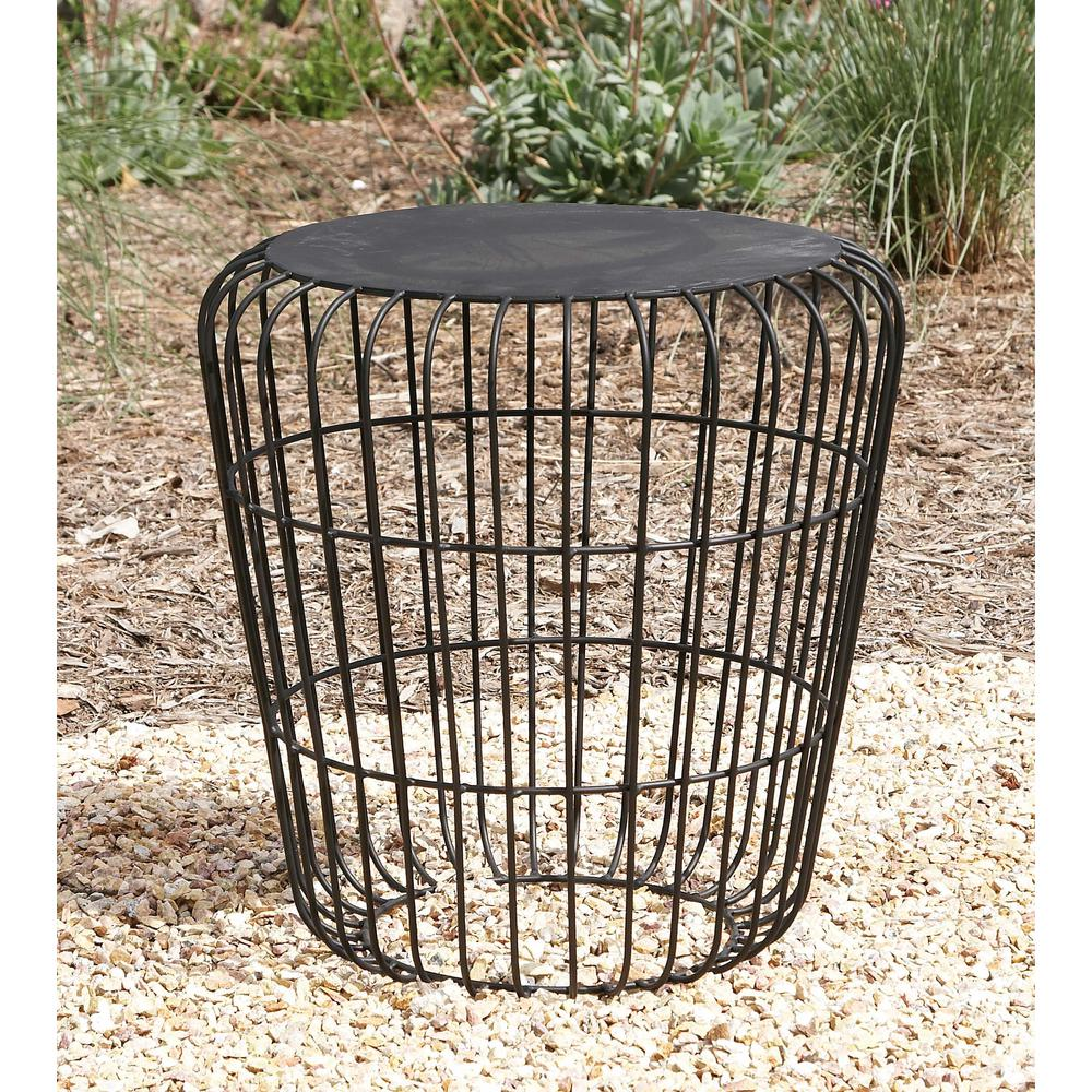 litton lane classic tin accent table metallic gray end tables patio black the rustic dining centerpieces farmhouse entry nautical theme bathroom side with storage modern lounge