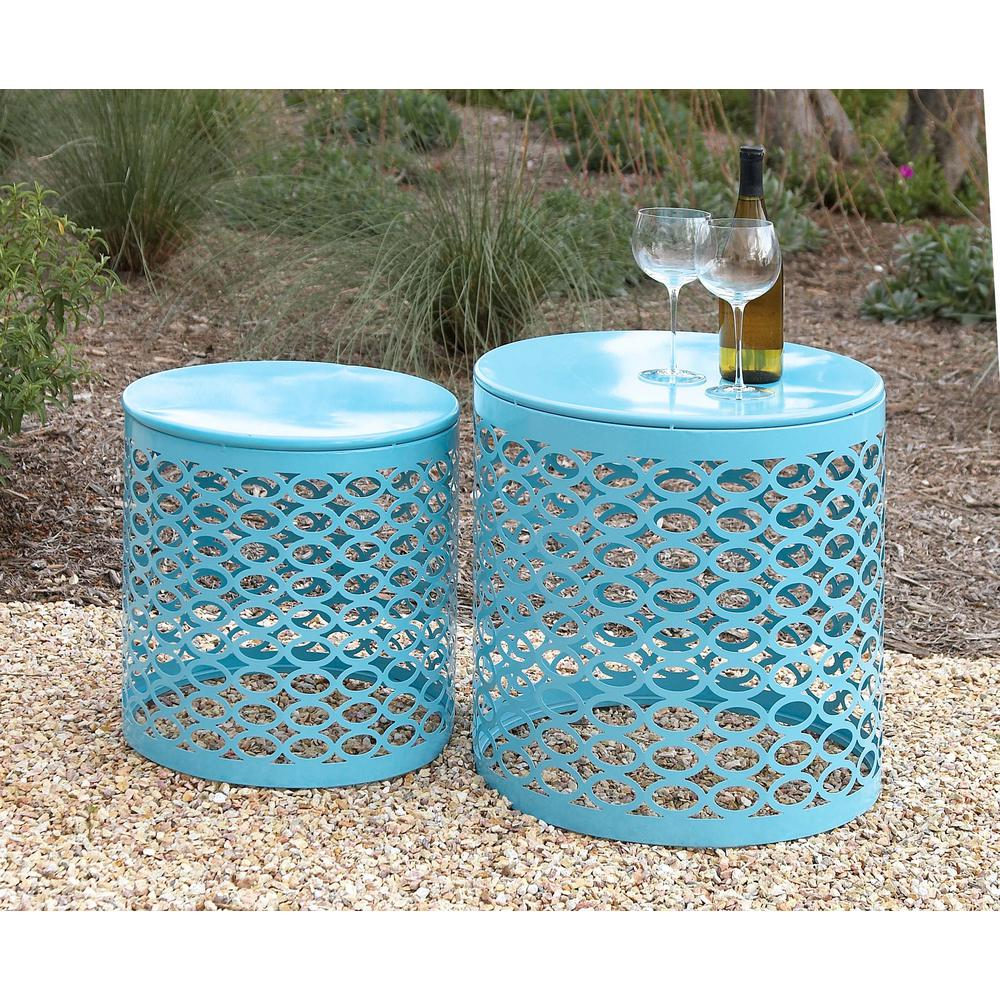 litton lane contemporary drum type piece iron accent tables outdoor coffee aqua blue table tiffany butterfly lamp original oval white cloth covers bright colored knotty pine