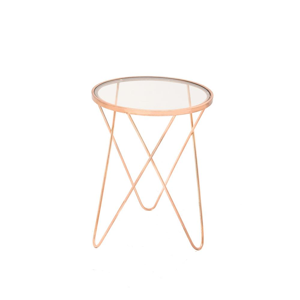 litton lane copper iron accent table with round clear glass end tables metal top outdoor sofa dining set bunnings couch lucite stacking white marble side uttermost console rattan