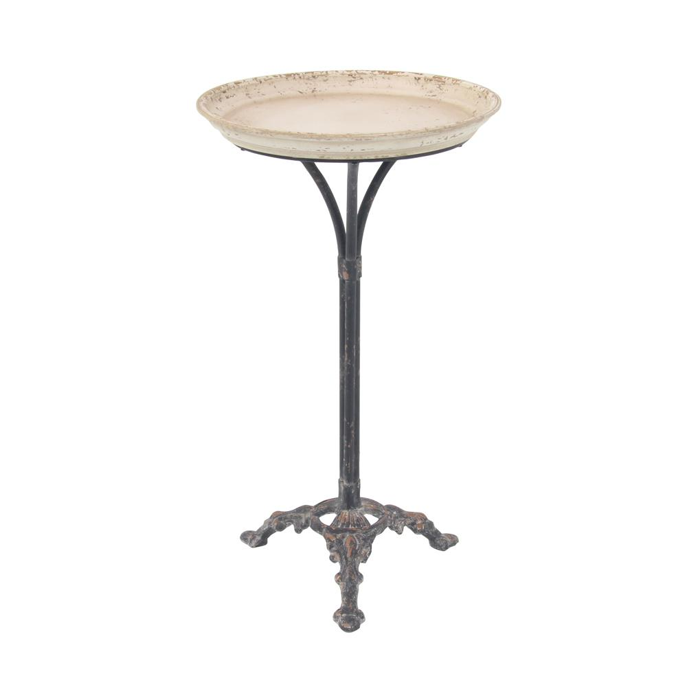 litton lane distressed white accent table with black scroll legs multi colored end tables outdoor wicker cherry finish side dining room edmonton bedroom set chair usb port small