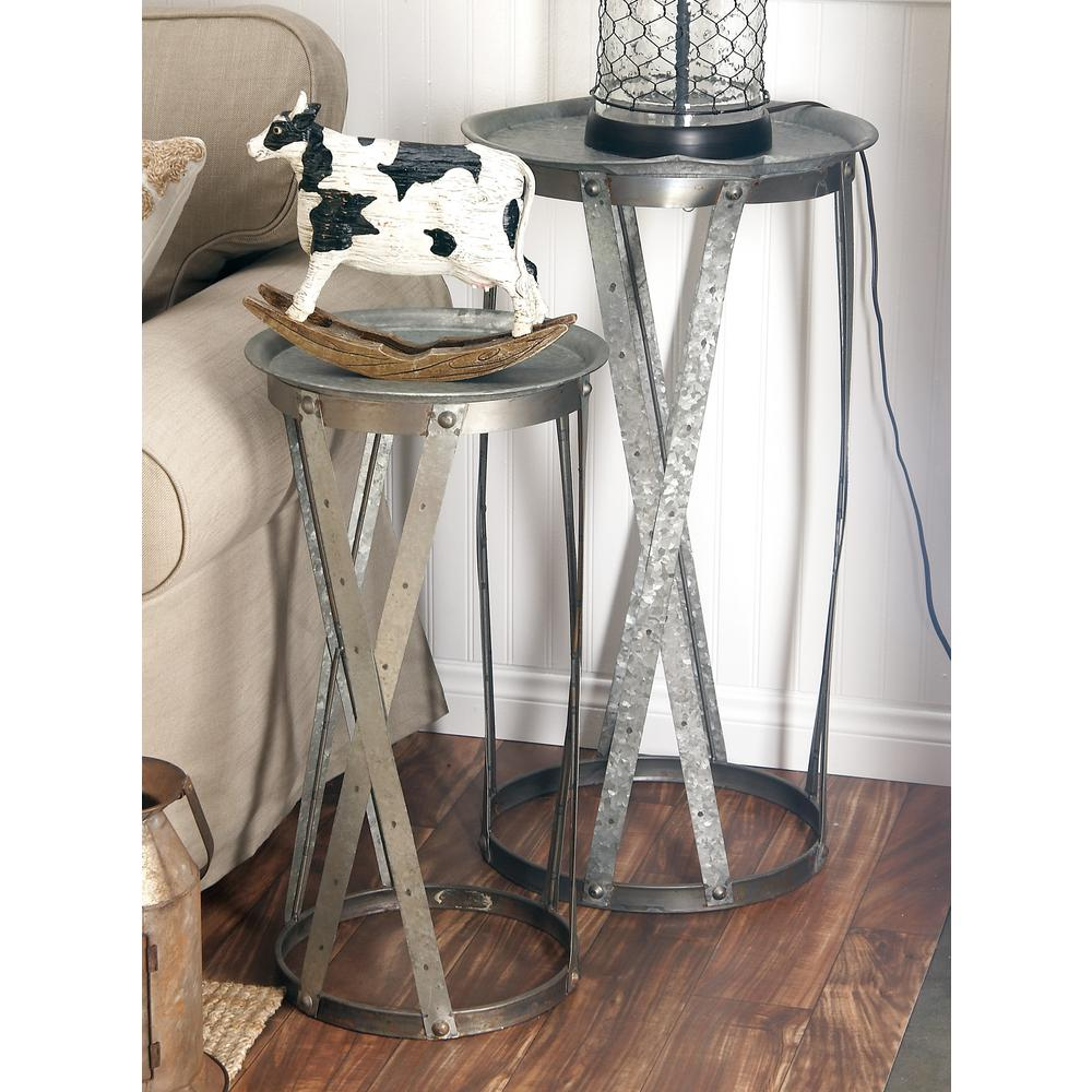 litton lane galvanized gray round pedestals with crosshatch frames end tables vanora accent table set large contemporary lamps mosaic and chair silver mirrored coffee grey green