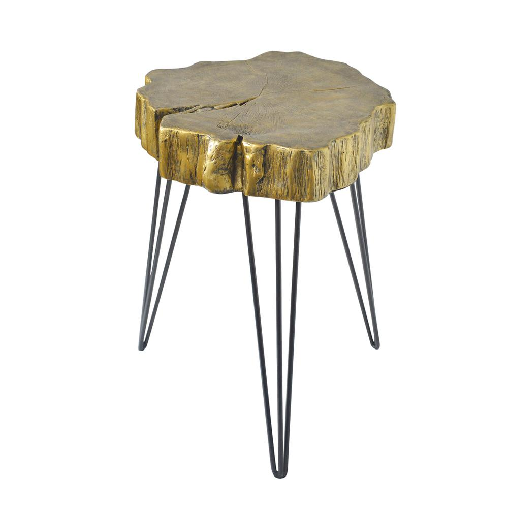 litton lane gold crosscut tree accent table the end tables ethan allen dining chairs metal and wood round drum lamp shades tall occasional crystal desk plastic tablecloths with