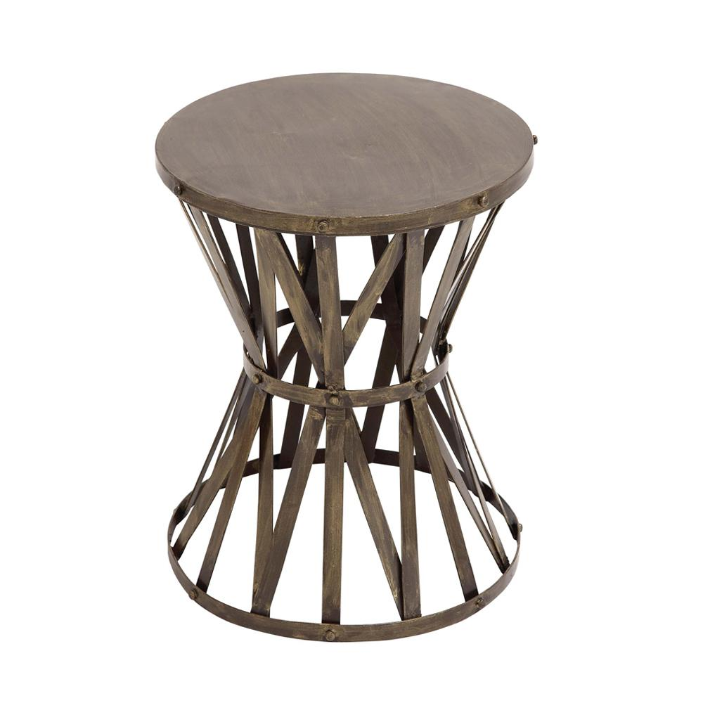 litton lane gray caged hourglass metal accent table the home end tables wood drum foyer chest furniture trestle with bench and chairs narrow modern nightstand lamps white side for