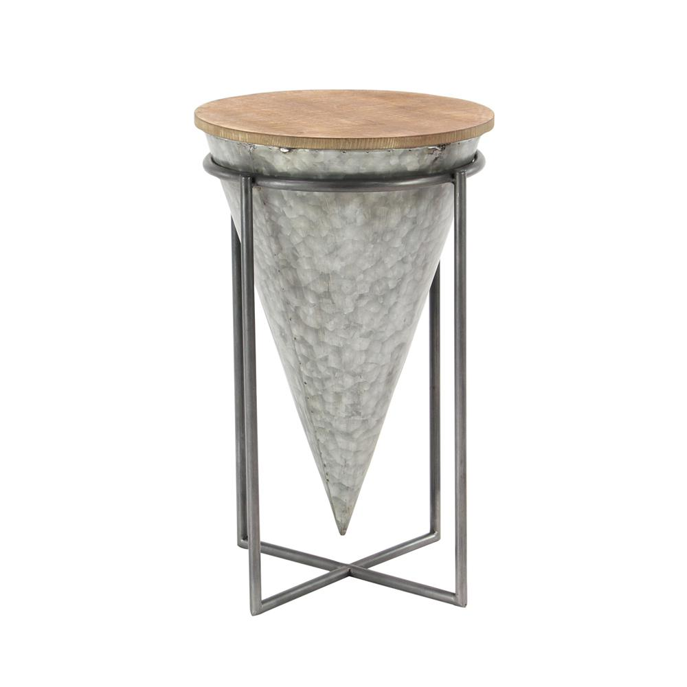 litton lane gray inverted cone shaped accent table with beige multi colored end tables wood tabletop the small ginger jar lamps black marble dining set painted coffee ideas long