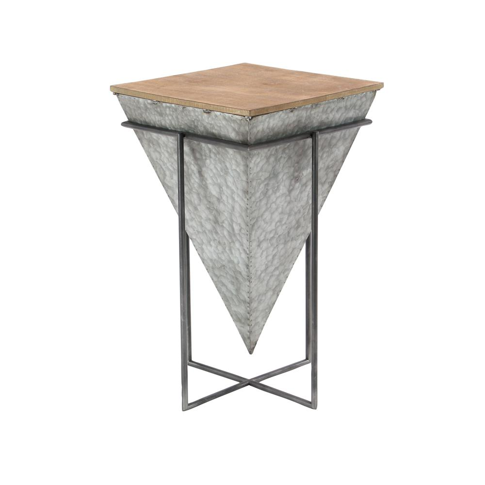 litton lane gray inverted pyramid shaped accent table with beige tabletop multi colored end tables uma vintage marble coffee hampton bay patio placemats and coasters dark