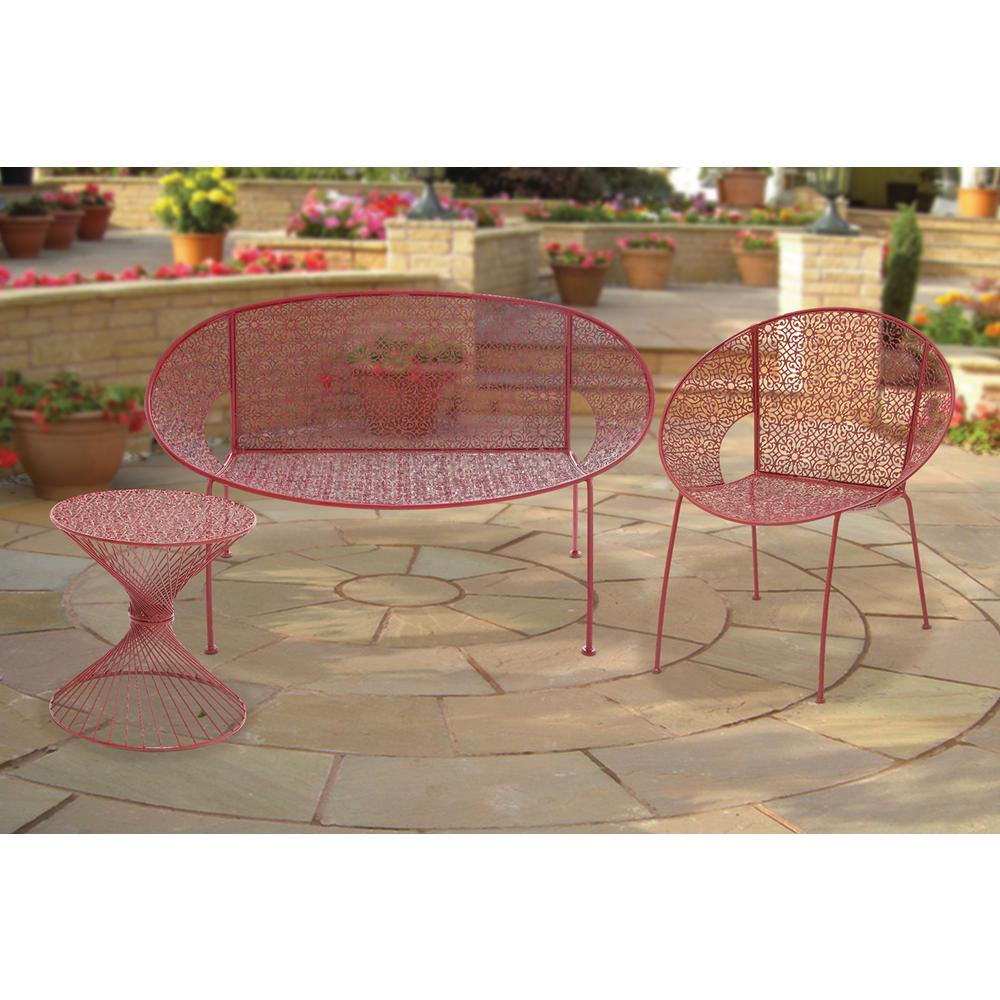 litton lane helix red iron accent table the outdoor coffee tables metal side cupboards for living room folding patio dining pottery barn leather sofa maple sterling and noble