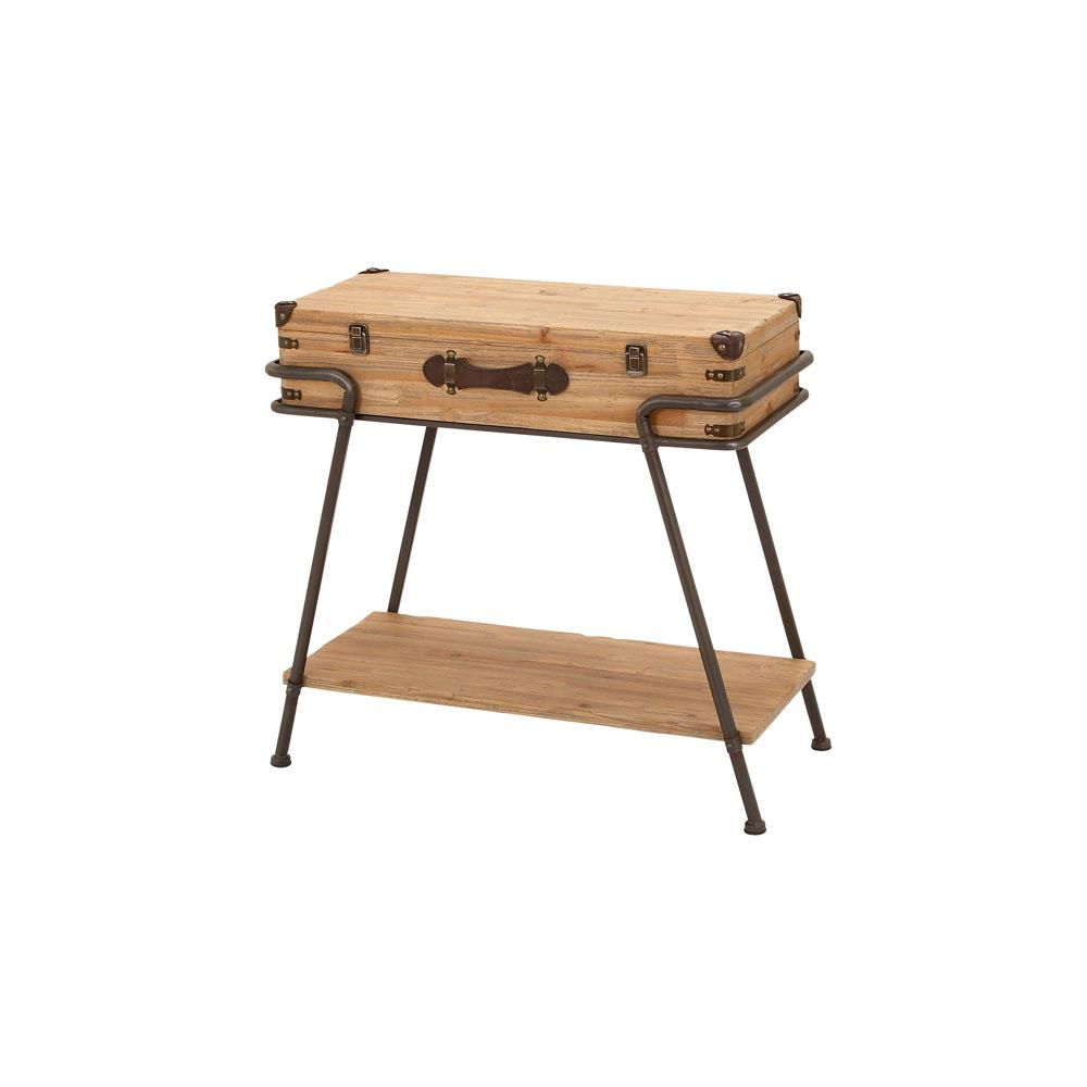 litton lane light brown suitcase accent table with bottom shelf end tables wood the green metal west elm reclaimed square cherry coffee foot console black clearance retro modern