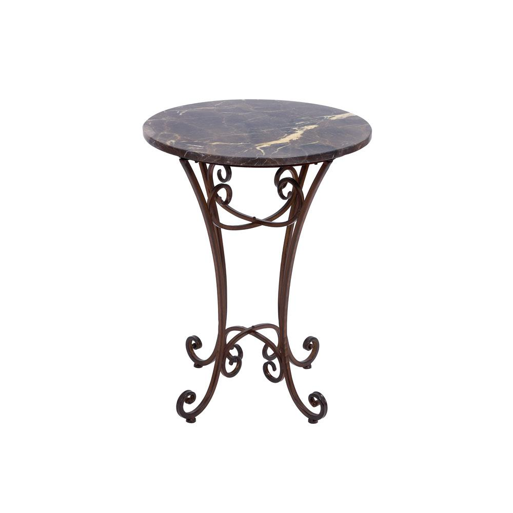litton lane marbled black round accent table with scrolled feet end tables pottery barn metal side reclaimed wood pub bar height patio tiffany lighting umbrella modern tablecloth