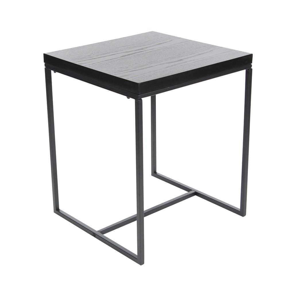 litton lane metal and wood square accent table black the multi colored end tables glass raw coffee cement dining room round farmhouse side set battery operated bedroom lights