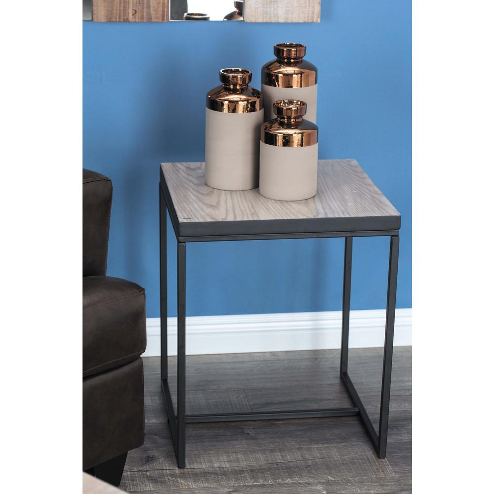 litton lane metal and wood square accent table brown black multi colored end tables with drawer dark unique lamps clear glass bedside small round kitchen decor mercury lamp target