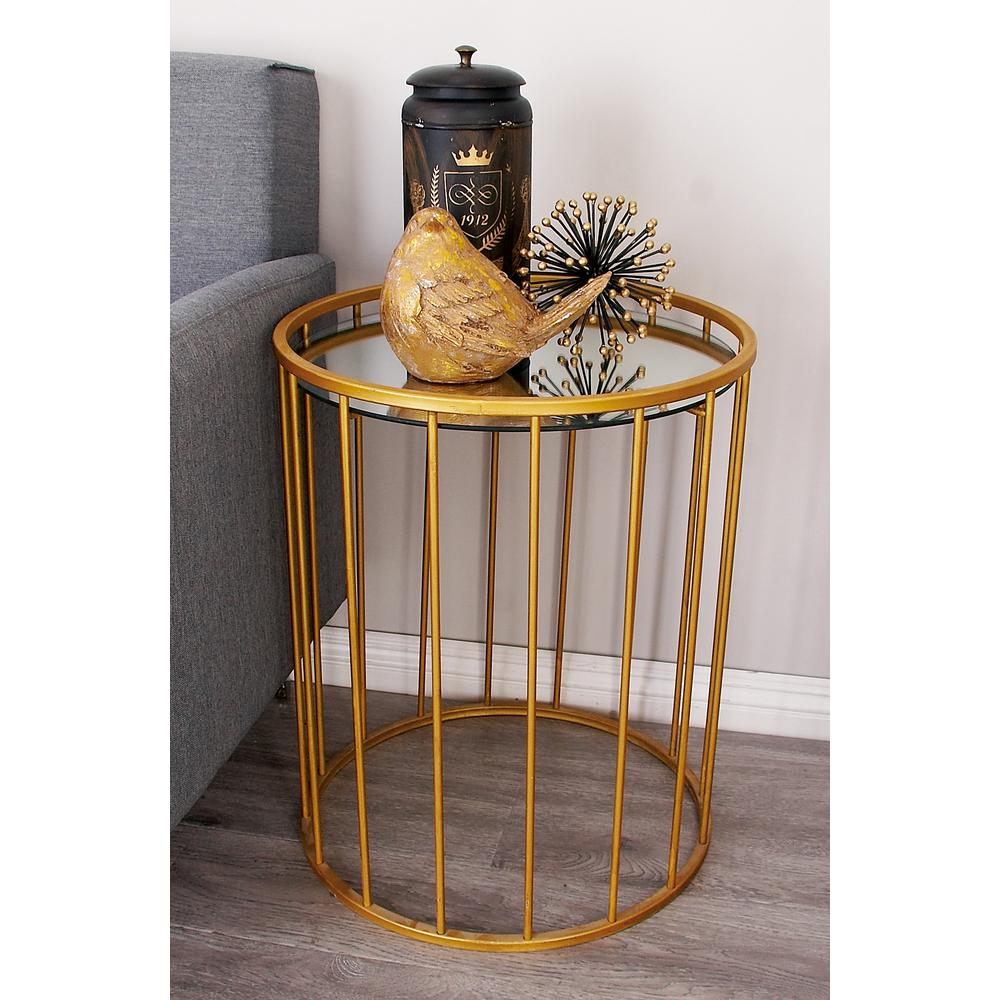 litton lane metallic gold barrel accent tables set end table the titanic furniture white console ikea expandable outdoor dining chairs edmonton dark cherry side espresso color