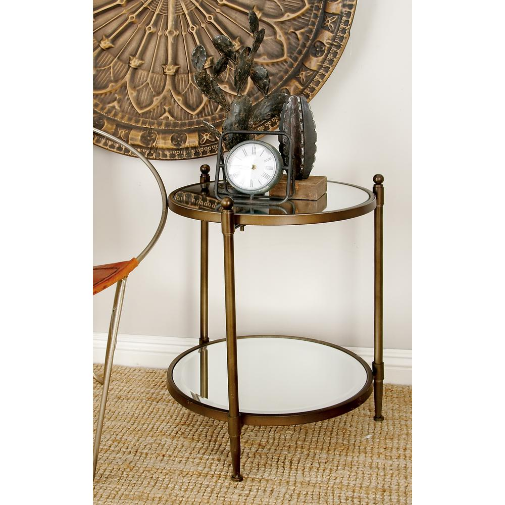 litton lane metallic gray round tier accent table the home end tables bronze patio gold coffee glass drum furniture reviews interior decoration ideas hexagon outdoor bistro with