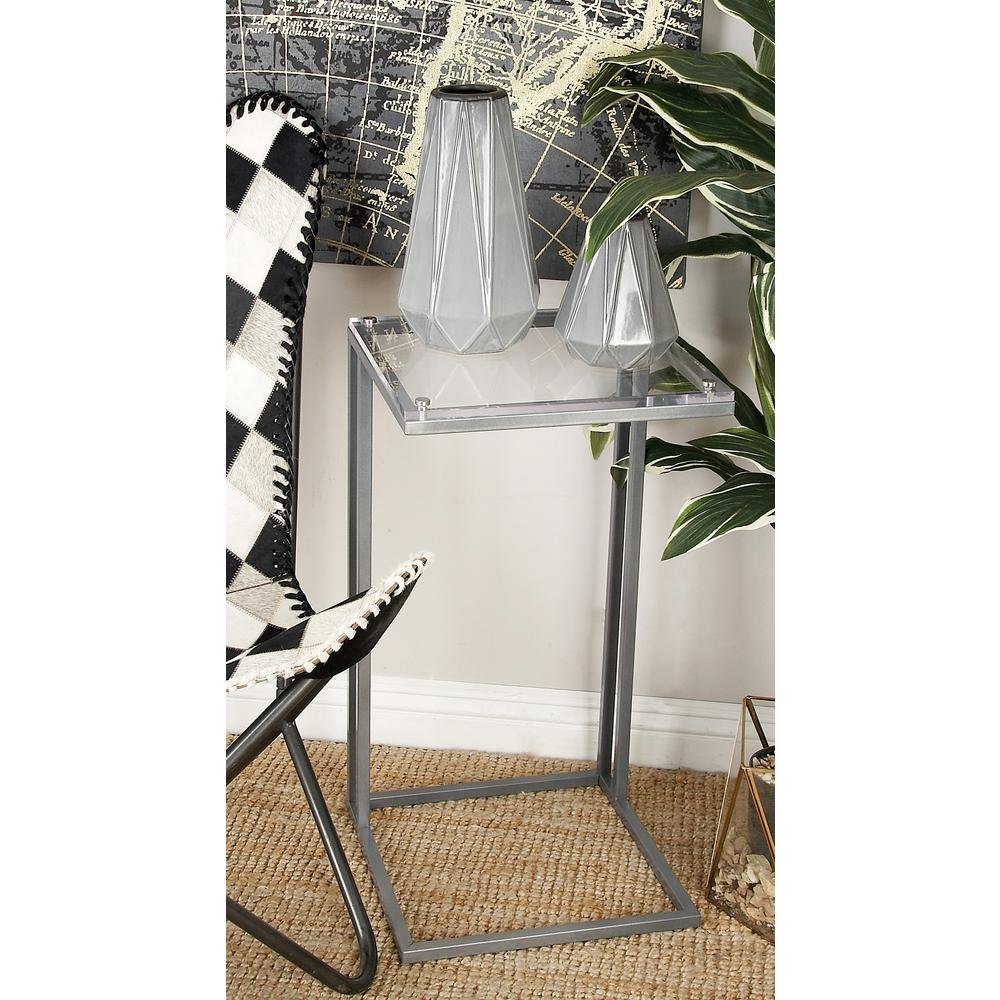litton lane metallic silver rectangular accent tables with clear end acrylic table tops set tall round kitchen wood stump and metal nesting nautical rope lights dark nightstands
