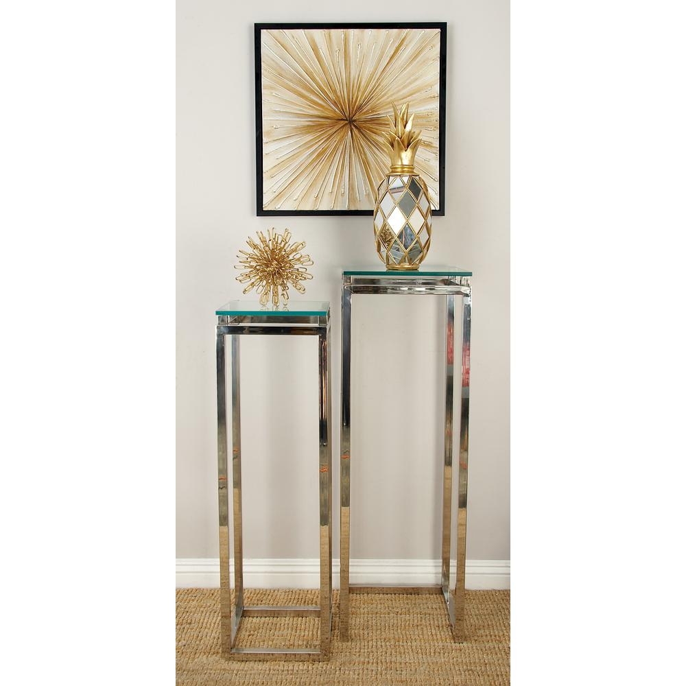 litton lane metallic silver stainless steel and glass pedestal end tables accent table set the modern metal coffee outdoor side clearance top legs patio runners next lucite