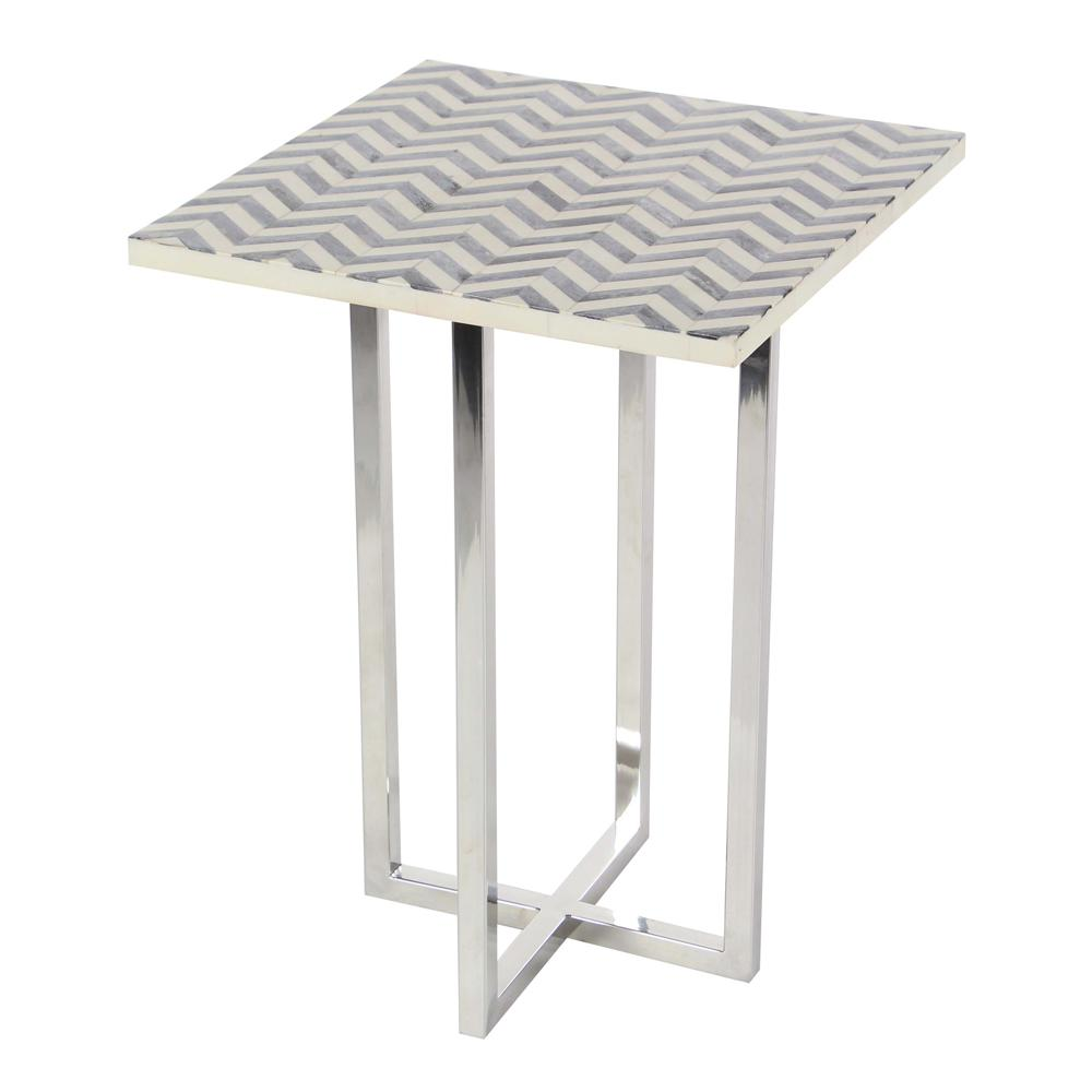 Litton Lane Modern Accent Table Silver And Gray The Home