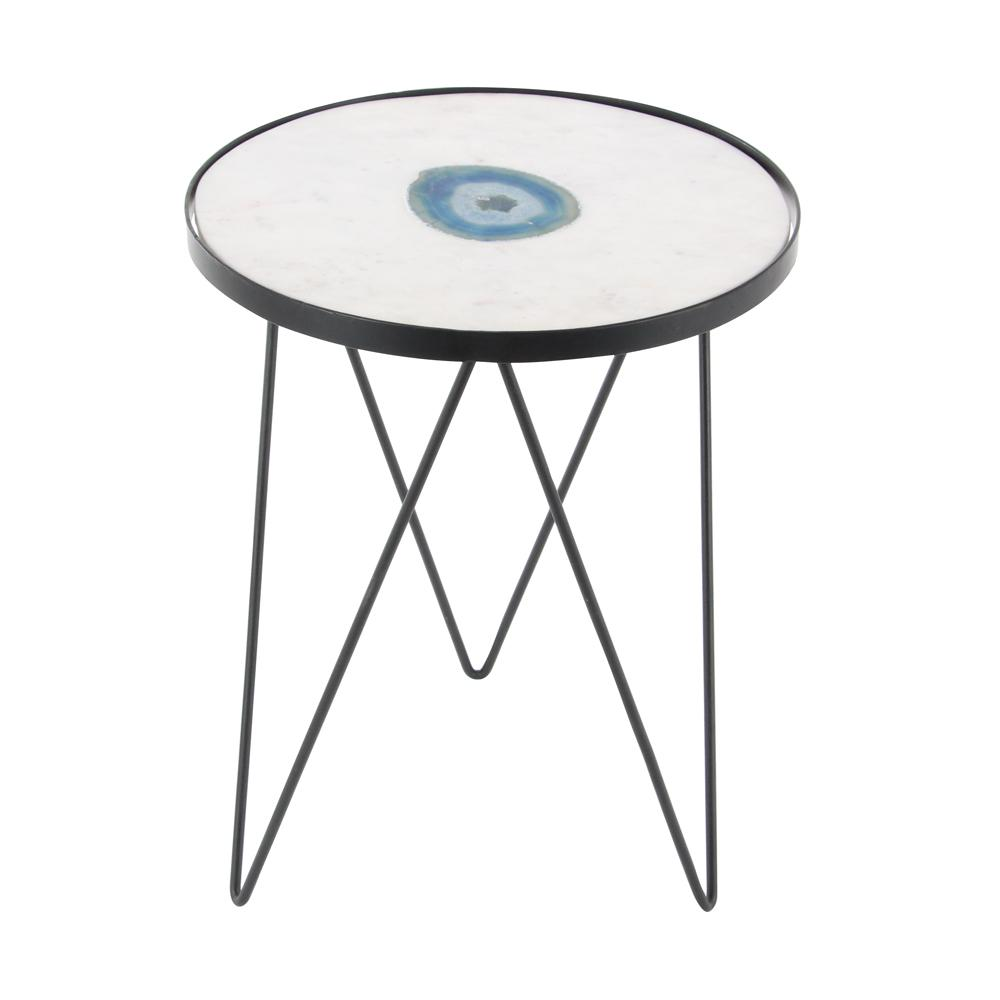 litton lane modern black iron and blue agate round white end tables accent table changing cover small with adjustable legs retro inspired furniture plexiglass cube pottery barn