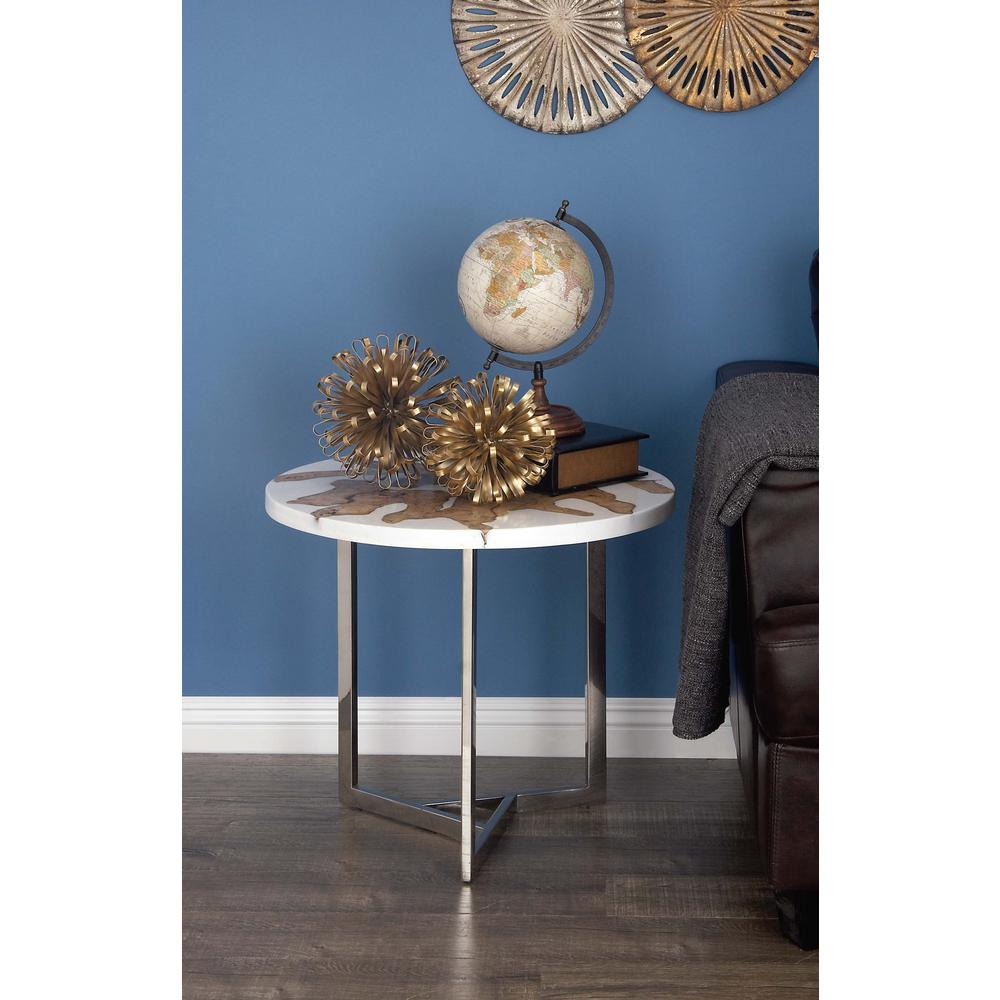 litton lane modern brown teak wood and white resin accent table end tables teal dining decor ideas nest ceiling chandelier small half moon olympia furniture antique oak bedside