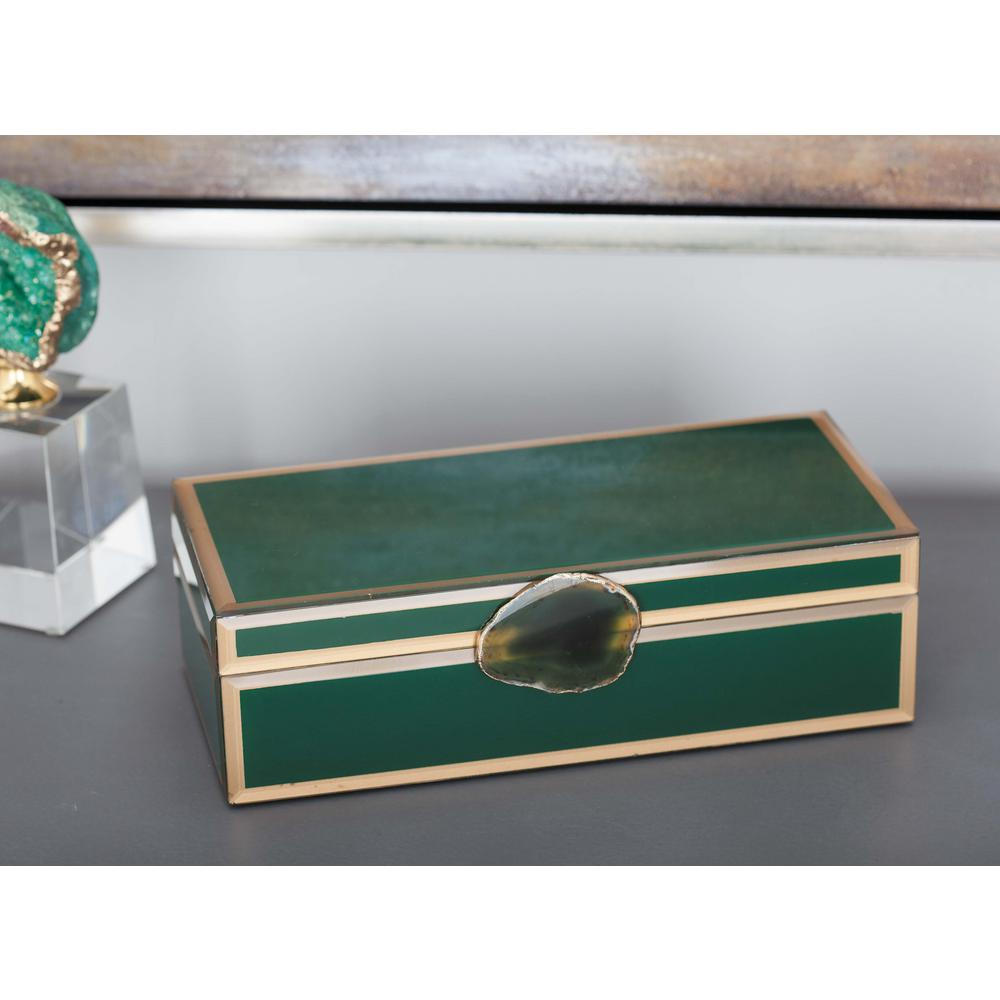 litton lane modern elegance wood and glass agate green jewelry boxes accent table bedding storage cast aluminum end nest tables with drawer outdoor coffee bunnings lounge chairs