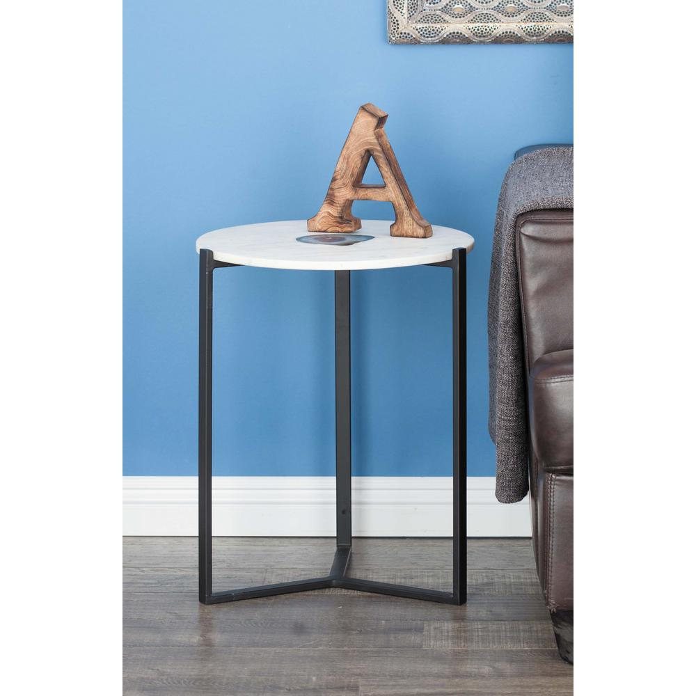 litton lane modern iron and blue agate round accent white gray end tables table wall for hallways headboard with shelves large clock outdoor top next mirrored side plastic target