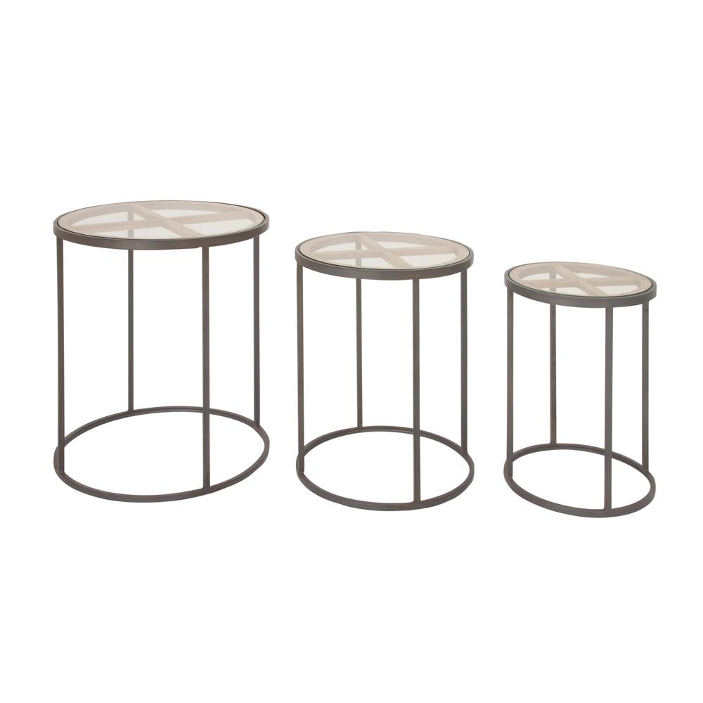 litton lane modern iron and glass piece nesting cylindrical accent blacks coffee tables outdoor table high gloss blue chair with ott bunnings garden seat tan leather magnussen end