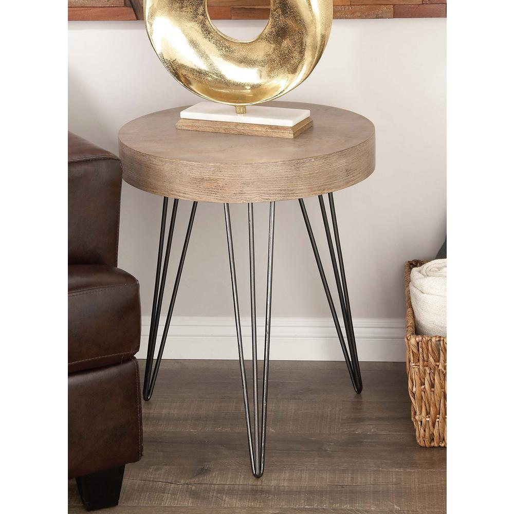 litton lane modern metal and wood accent table brown black end tables the oval glass coffee base dining free patterns for quilted runners toppers living room console cabinets