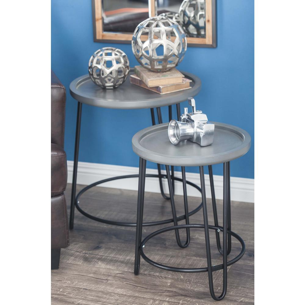 litton lane modern metal and wood accent tables gray set multi colored coffee teal table chairs antique wheels for snack ikea kitchen chair cushions with ties tall gold lamp room