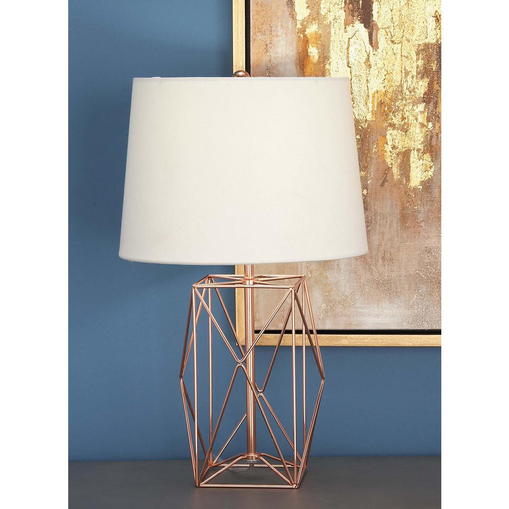 litton lane modern rose gold iron wire asymmetrical prism table lamps accent lamp tiffany nightstand white drop leaf and chairs low wood coffee driftwood next dining room wine
