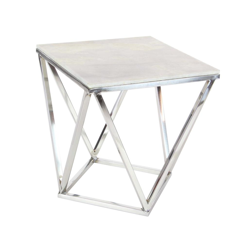 litton lane modern stainless steel and marble square accent table white end tables barley twist side off bedside pair target project dining room runners home ideas chrome