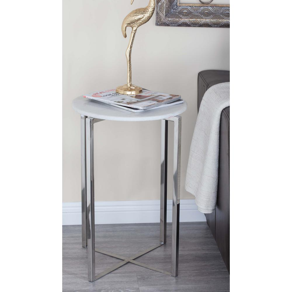 litton lane modern stainless steel marble accent table white and end tables silver turned leg dining small slide under couch tree stump coffee multiple phone charging station wood