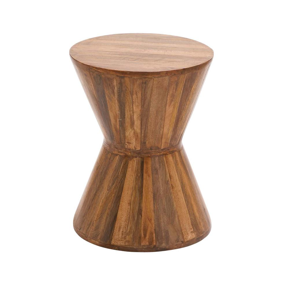 litton lane natural brown hourglass shaped side table the end tables drum accent nate berkus bath rug bathroom runner stackable outdoor outside patio bar top with stools inch