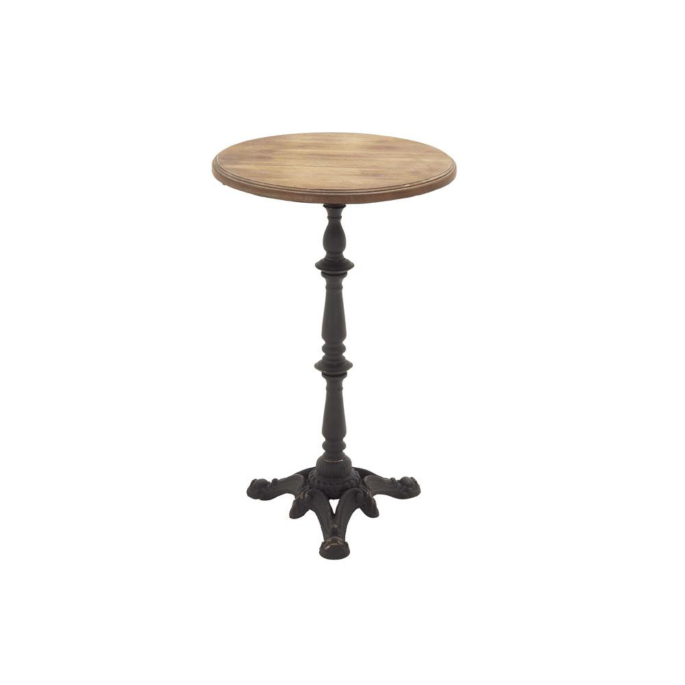 litton lane natural brown round accent table with black pedestal end tables metal stand and ornate base nautical flush mount light pub style kitchen industrial silver occasional