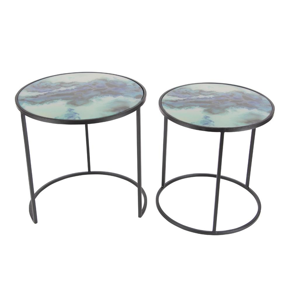 litton lane nesting iron and glass accent table set black end tables metal the sofa behind french beds west elm floor pillow bedroom furniture packages silver round jcpenney rugs