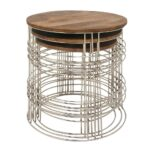 litton lane set mango wood and metal round accent tables brown end quatrefoil table natural finish mirrored pedestal rattan cool bar small black west elm dining threshold glass 150x150
