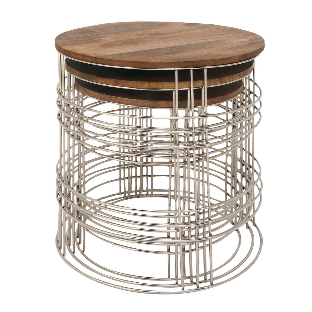 litton lane set mango wood and metal round accent tables brown end small furniture natural finish antique glass side table large circular tablecloths ikea kallax boxes west elm