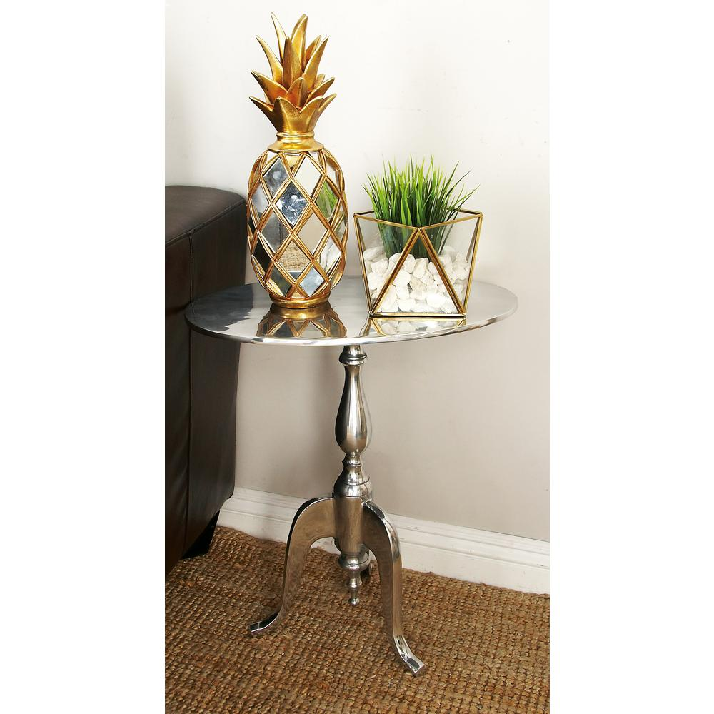 litton lane silver aluminum round accent table the end tables pier one big chair small white desk with drawers target kitchen sets for bronze side area rugs furniture legs mosaic